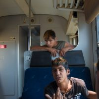 Kids on train wagon