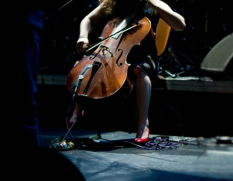 Crippled Black Phoenix cellist live in Principal Club Theater, Thessaloniki, Greece, 2009
