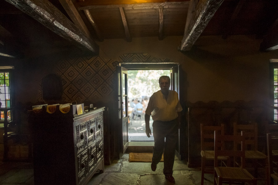Man in old church at Milies, Pelion, Greece, 2013. Photo by Ilias Antoniou.