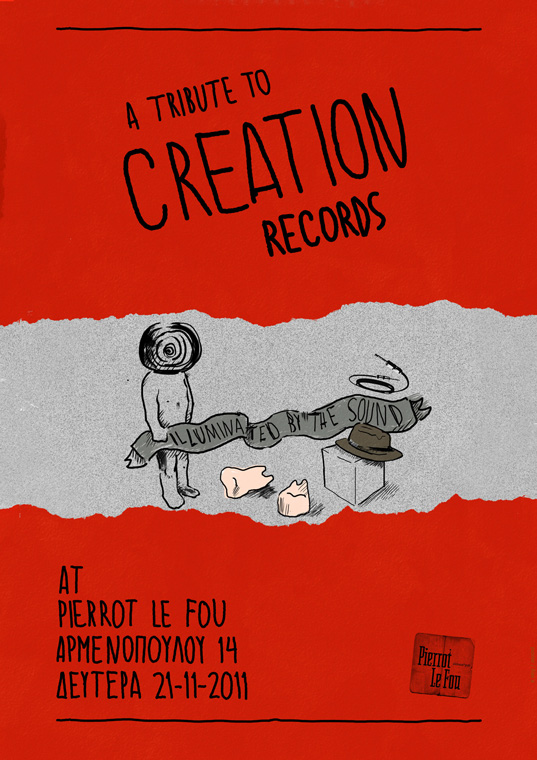 Event Poster for a Creation Records Tribute at Pierrot Le Fou