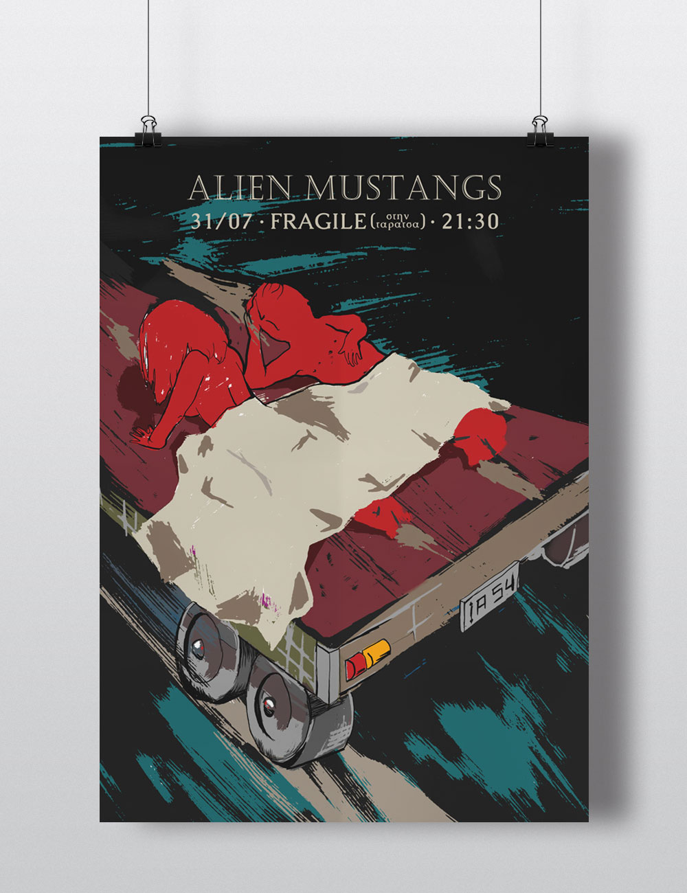 Poster for Alien Mustangs live concert at Fragile Bar, Thessaloniki
